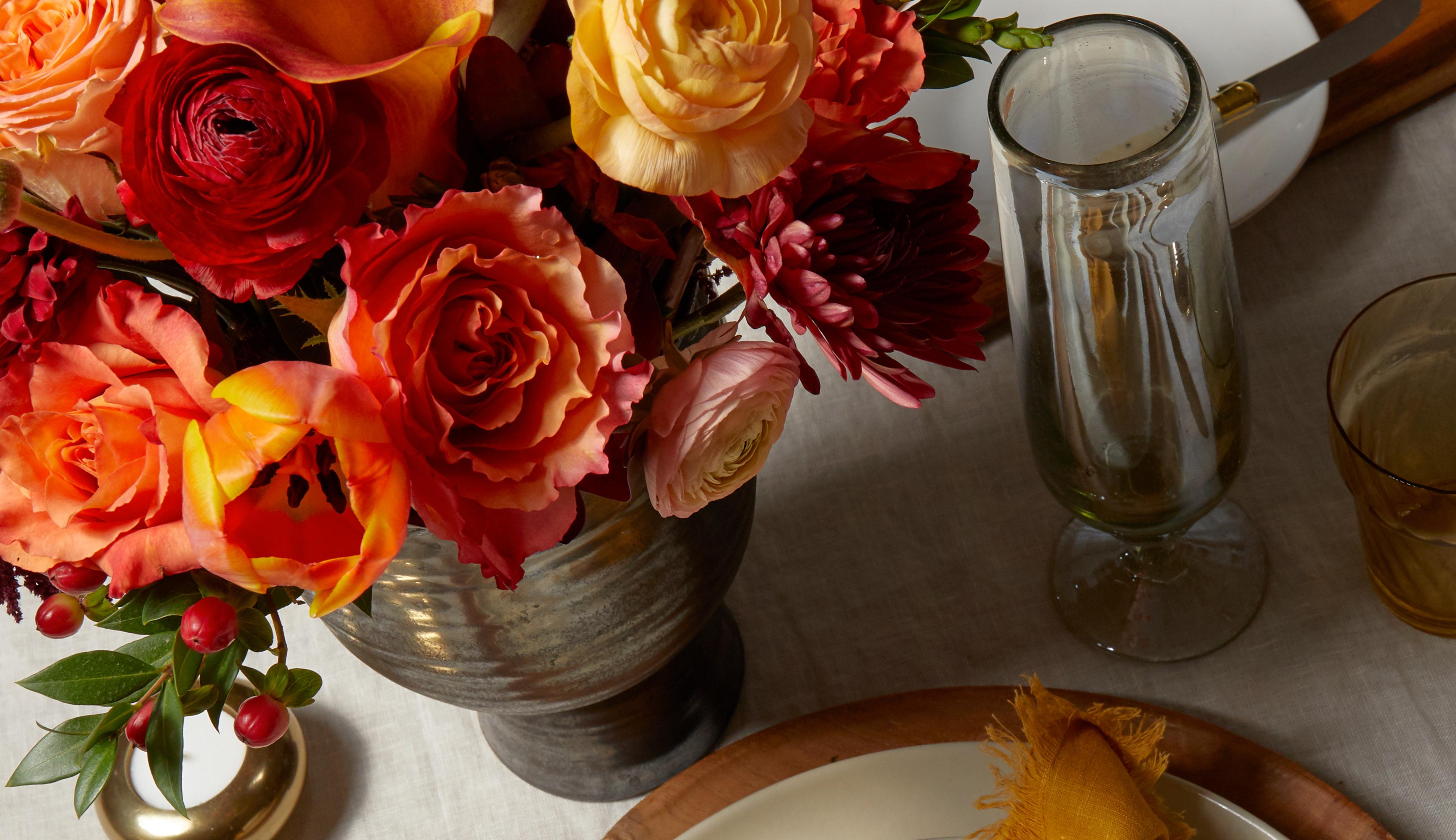 Fall flower arrangement serving as a floral centerpiece