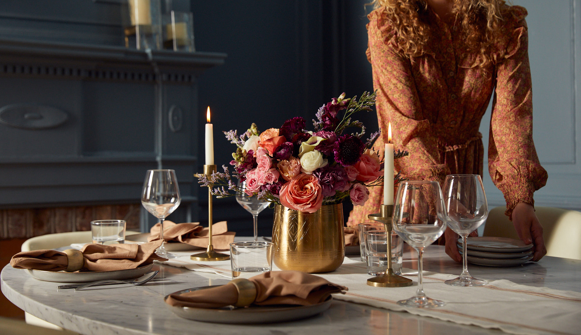 Fall table setting with fresh flowers perfect for entertaining