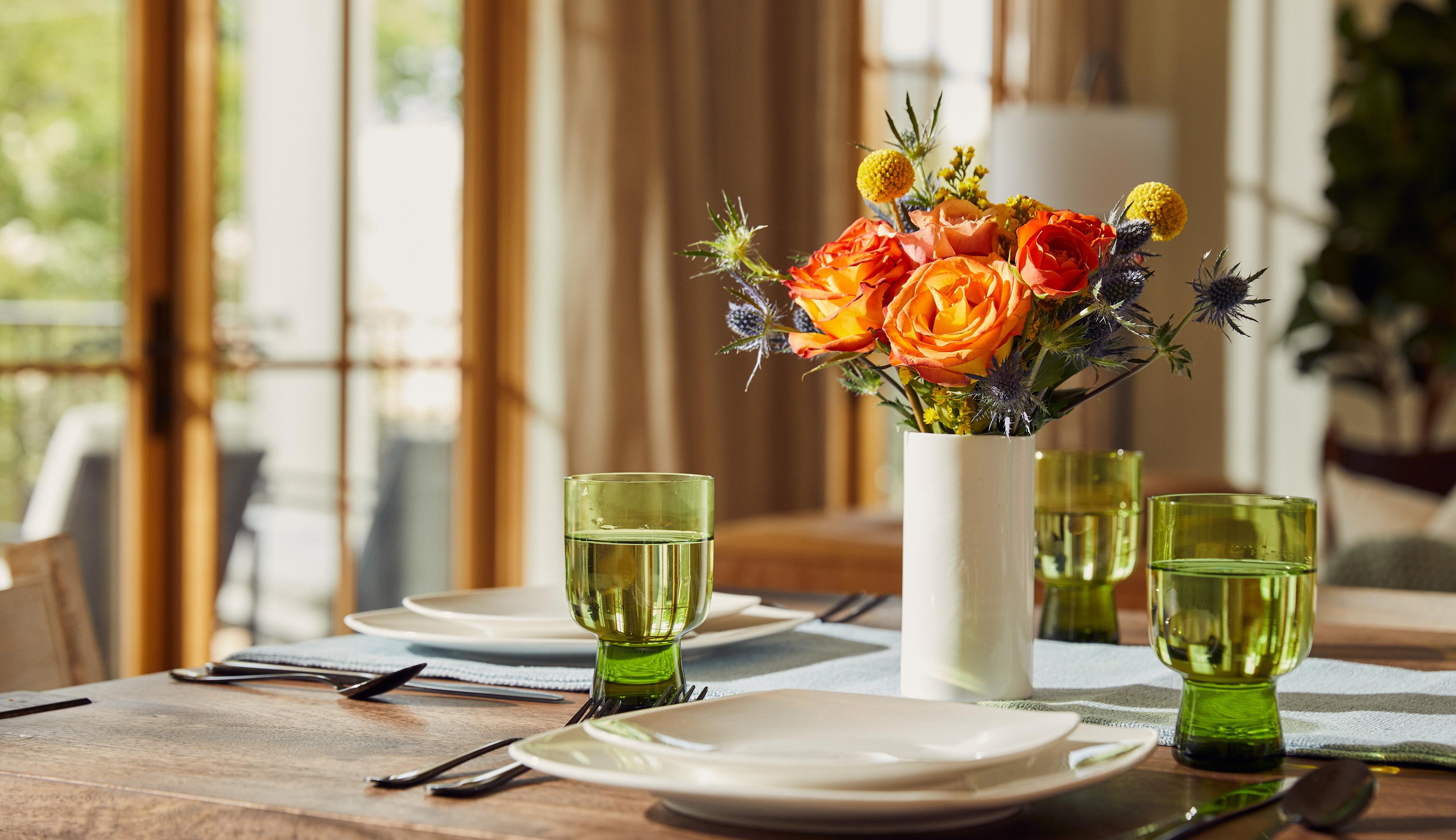 A mini bouquet on a set table