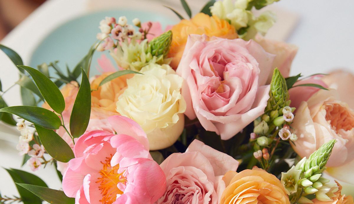 Close up of floral bouquet available for same-day delivery