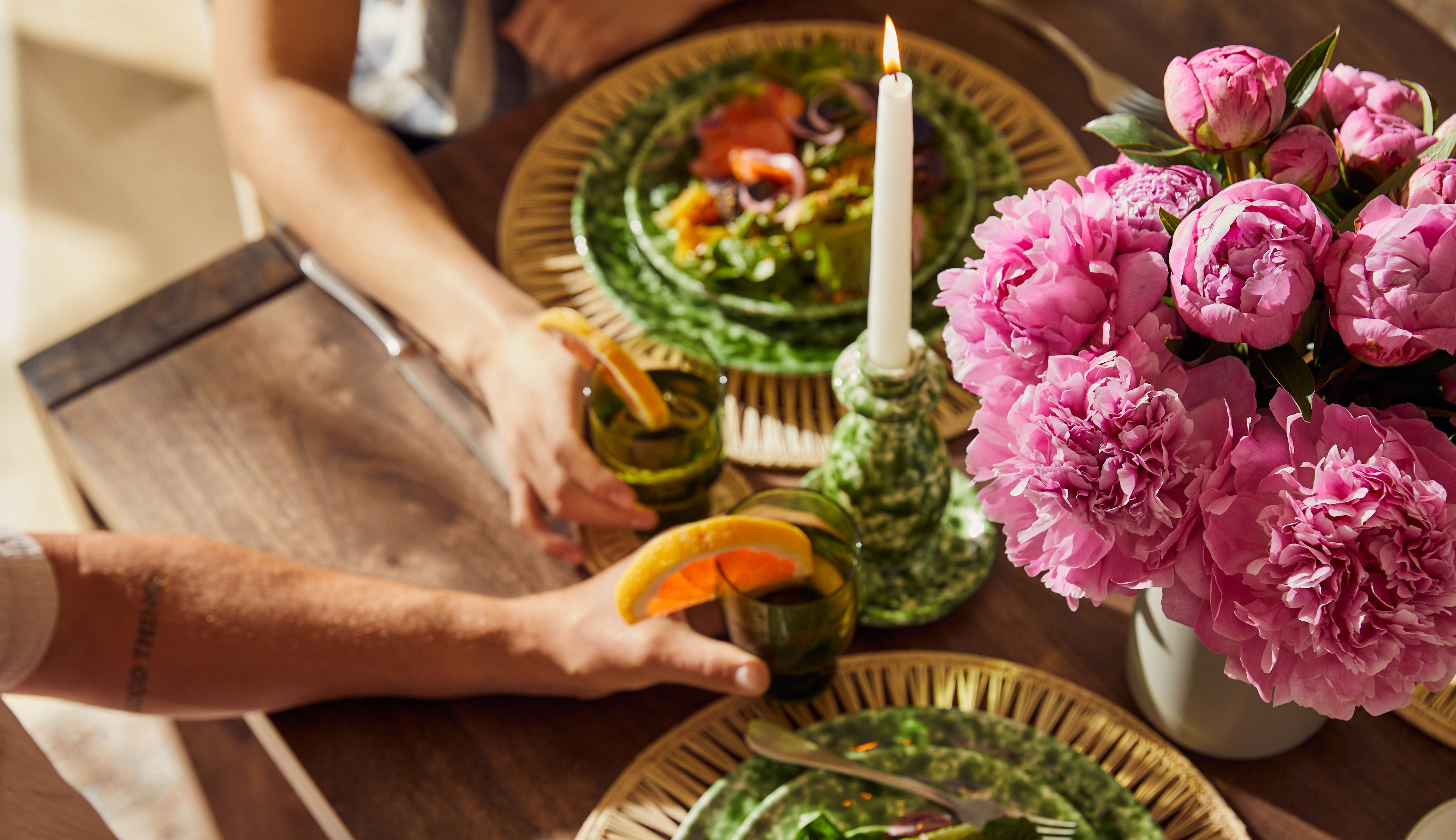 Table set with a bouquet of fresh flowers.