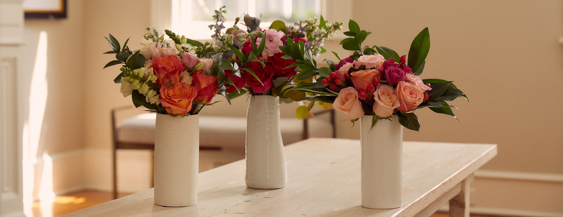 Three floral bouquets from the Breast Cancer Awareness Collection