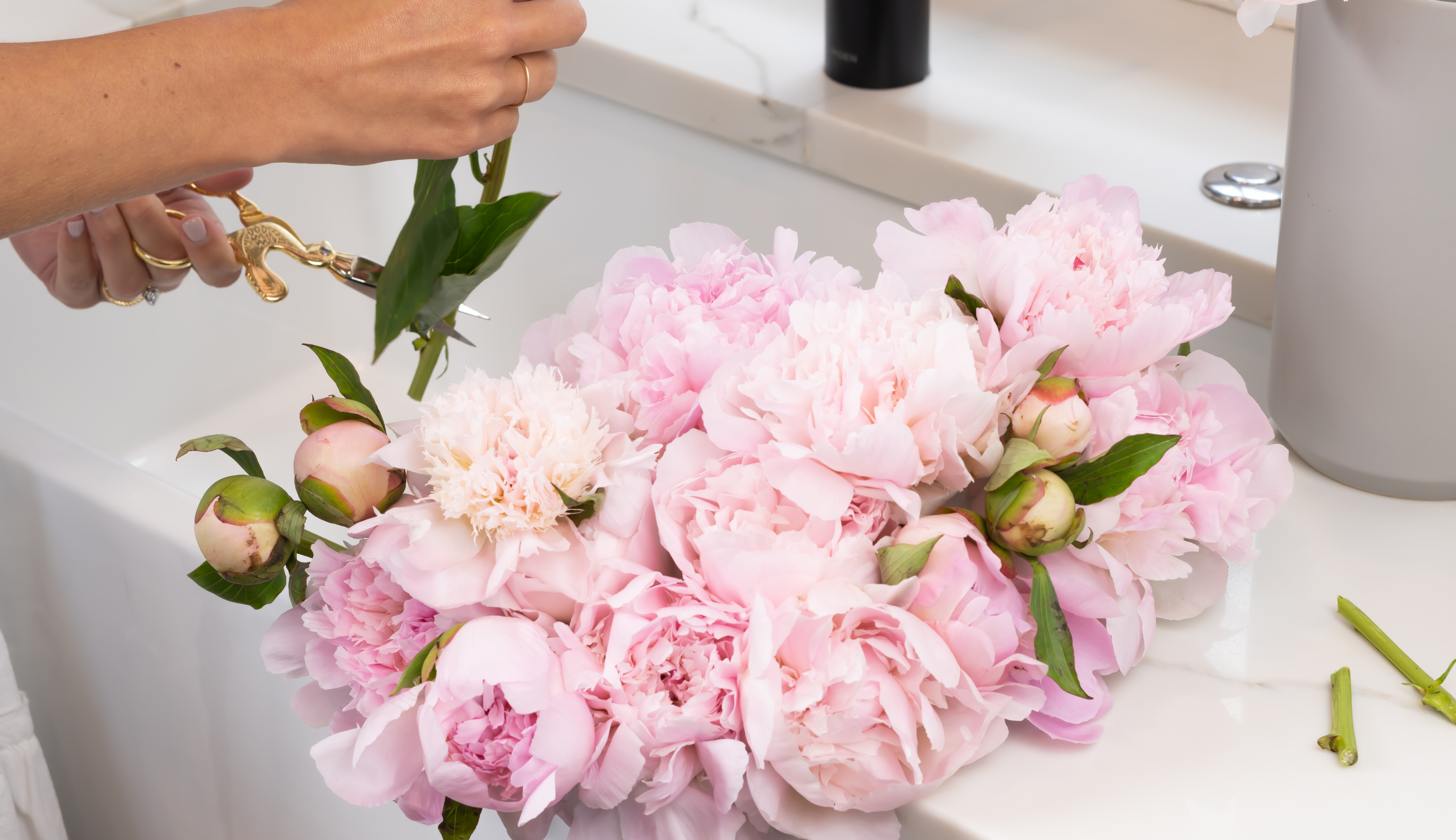 Light pink peony bouquet on white counter.