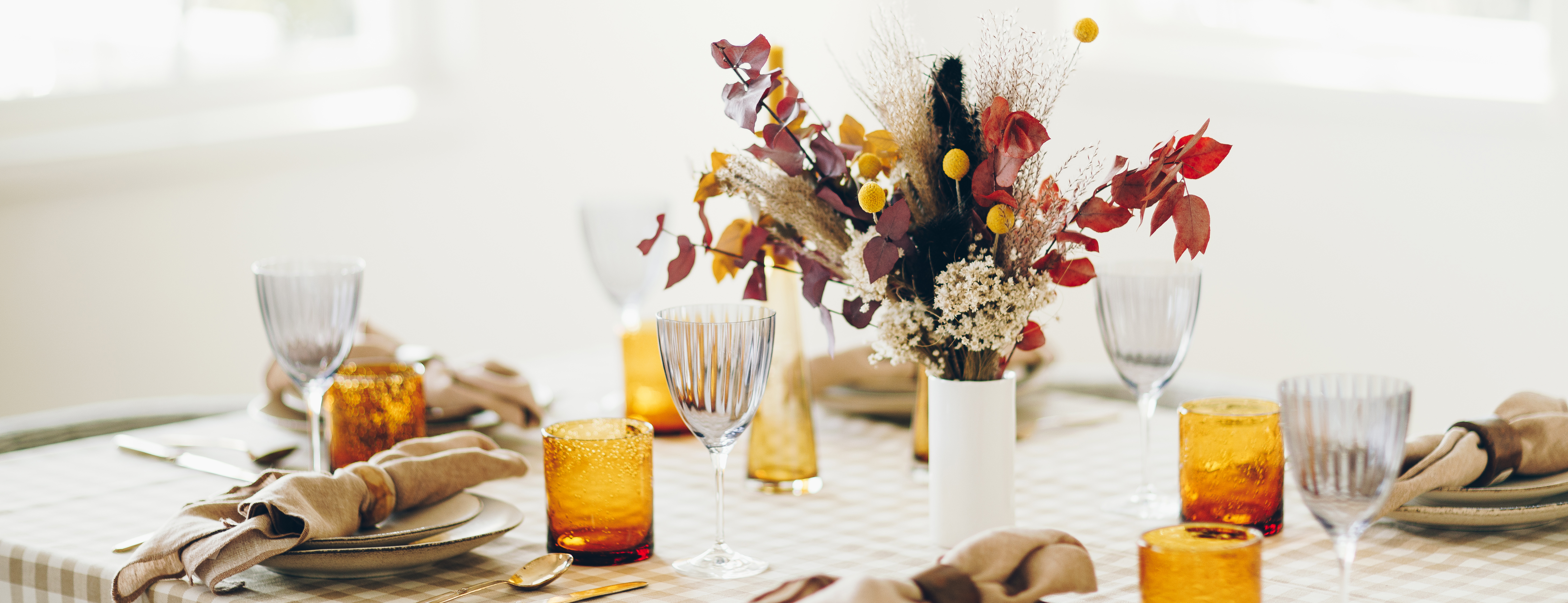 Fall floral centerpiece on a table