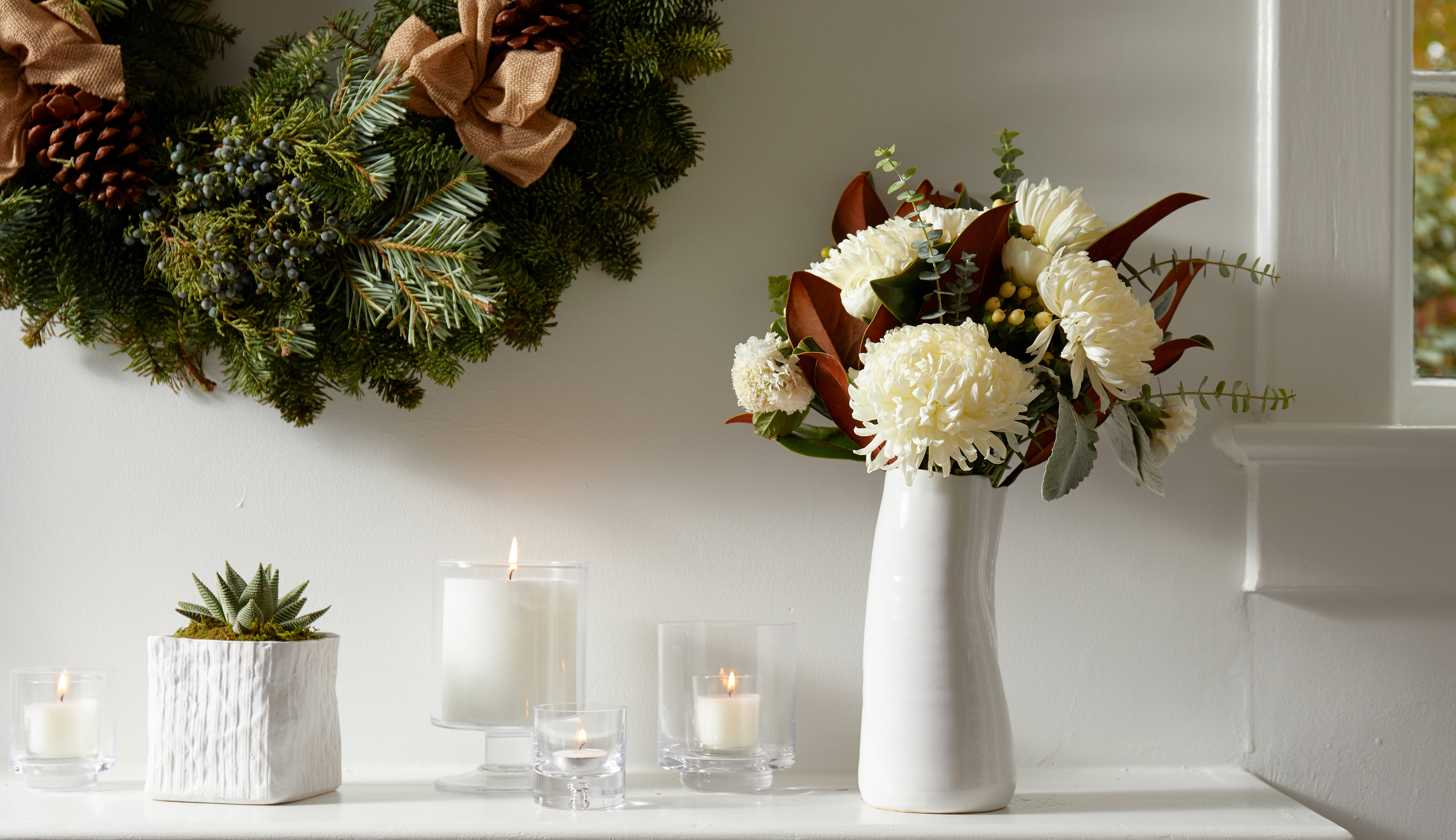 Magnolia bouquet and magnolia wreath for fall decorating