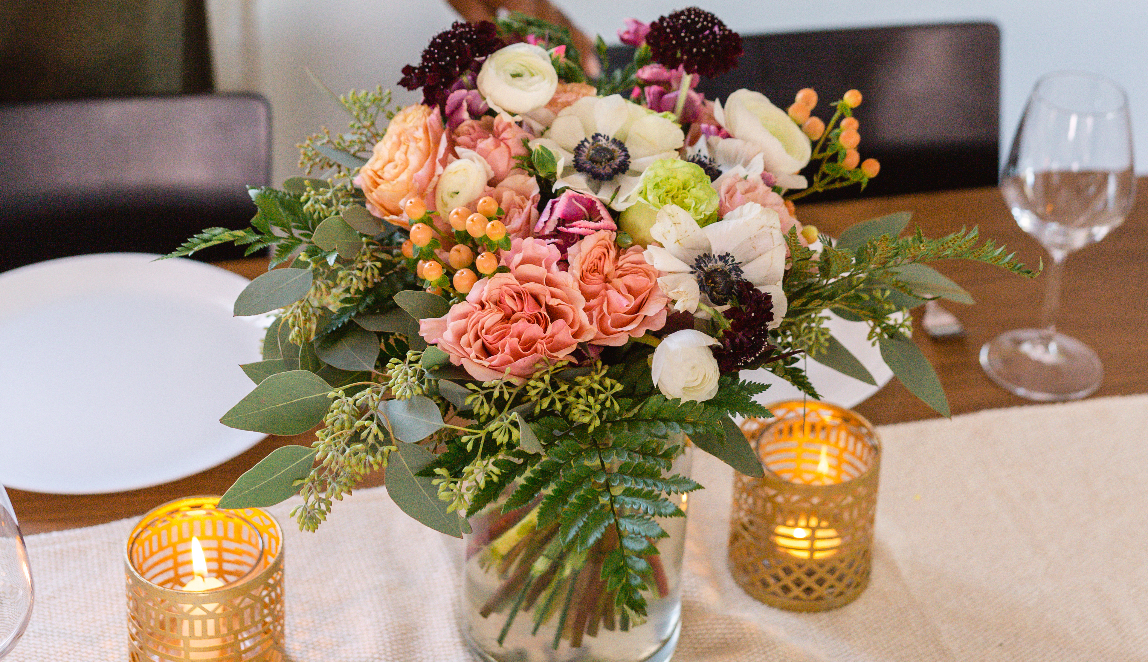 Fall table decor with beautiful fall floral bouquet