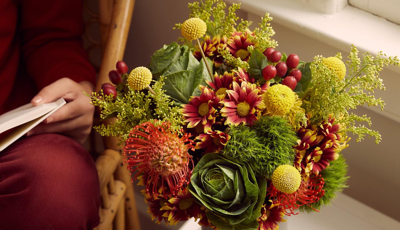 Floral arrangement perfect for a DIY fall centerpiece