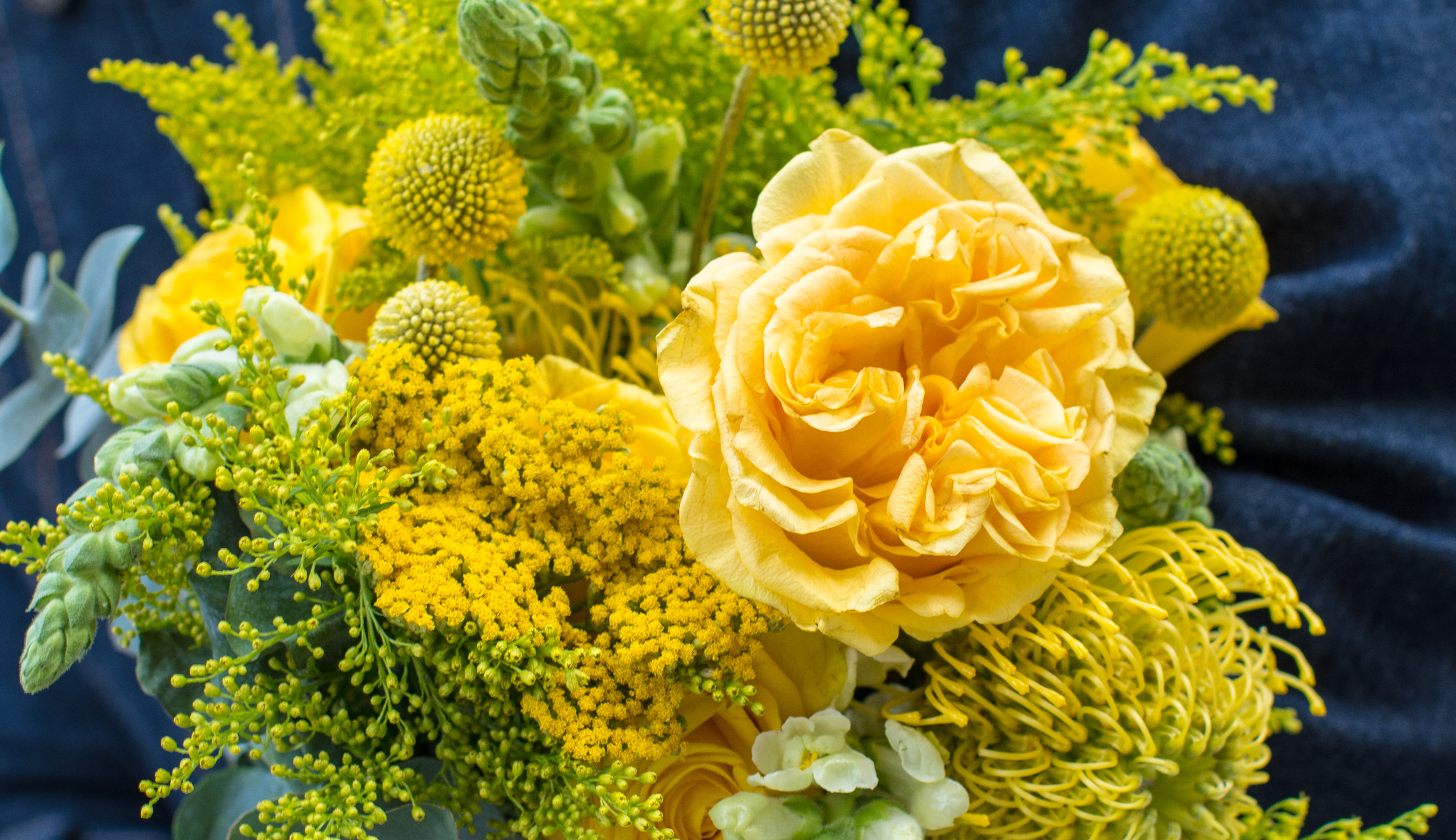Close up shot of yellow flower bouquet